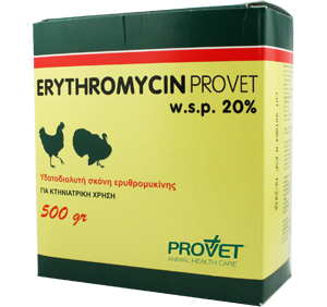 ERYTHROMYCIN/ PROVET 20% powder for oral sol.